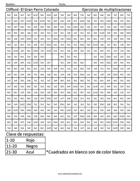 gratis para colorear multiplicación