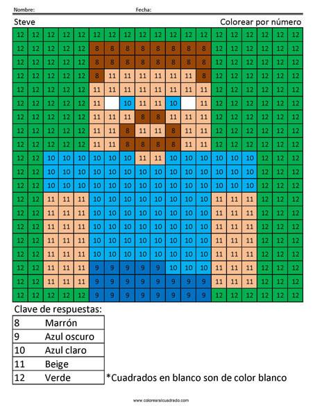 Minecraft colorear por número