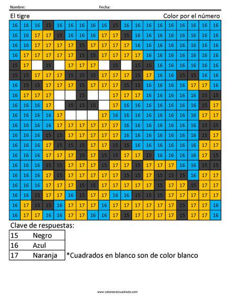 El tigre Color por número