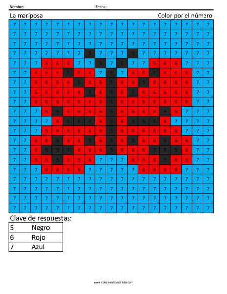 La mariposa Color por número