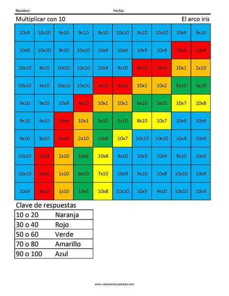 Multiplicar con 10- El arco iris