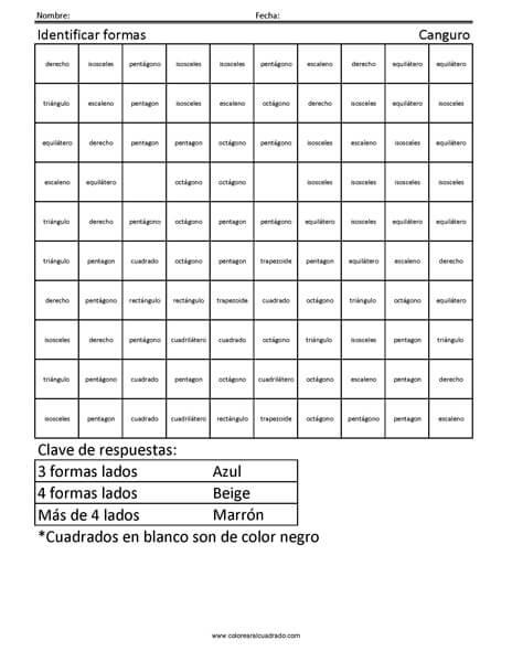Identificar formas- Canguro