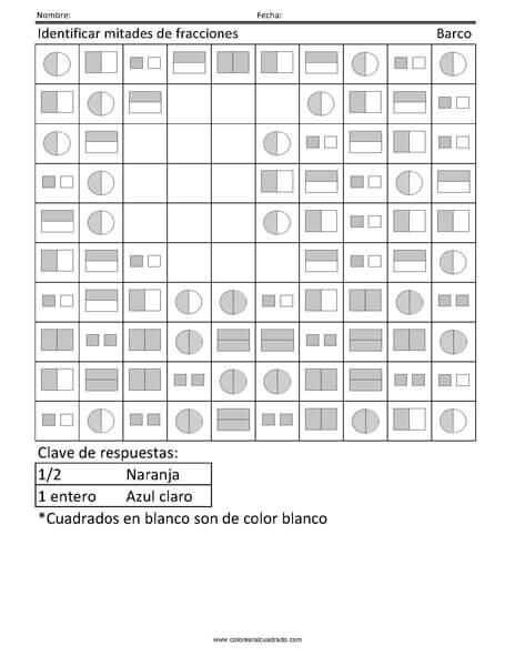 Identificar mitades de fracciones- Barco