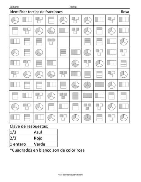 Identificar tercios de fracciones- Rosa