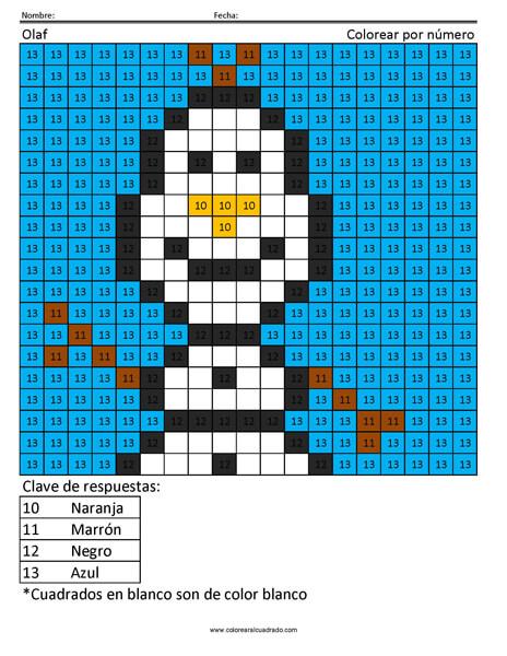 Olaf Disney Colorear por número