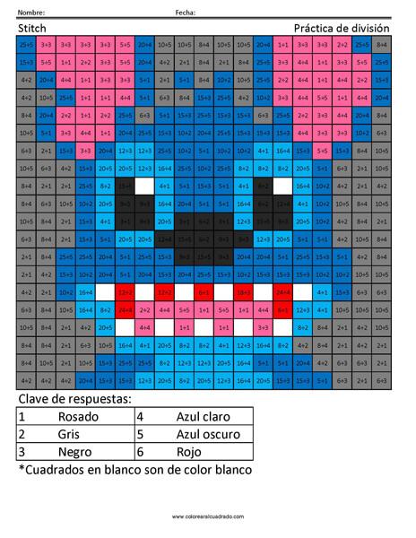 Stitch Disney Práctica de división