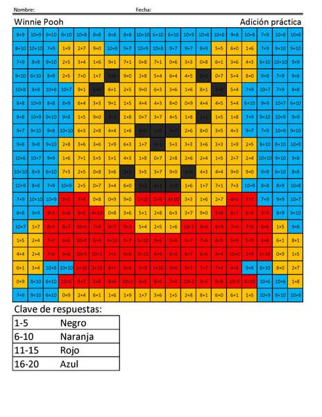 Winnie Pooh Disney Adición práctica