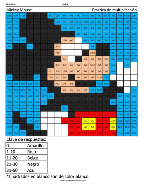 Mickey Mouse Disney Práctica de multiplicación