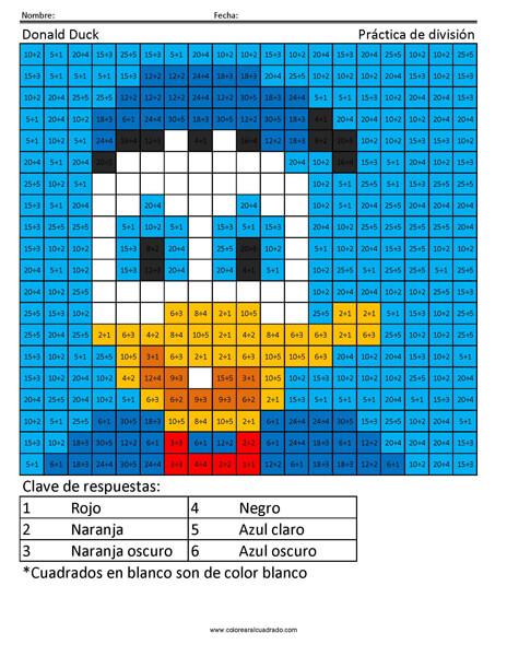 Donald Duck Disney Práctica de división