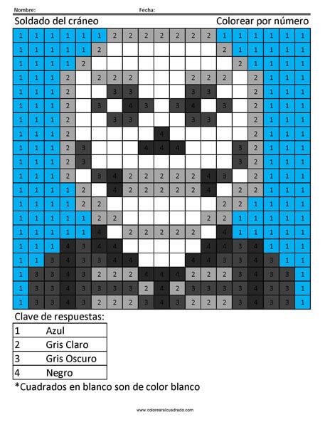 Fortnite Soldado del cráneo colorear por número
