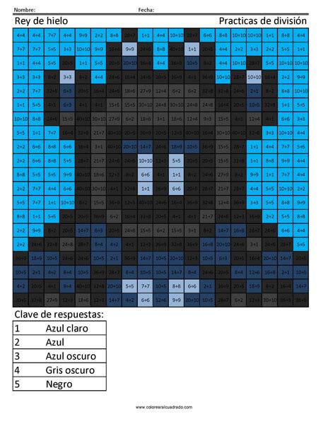 Fortnite Rey de hielo colorear por número practicas de división